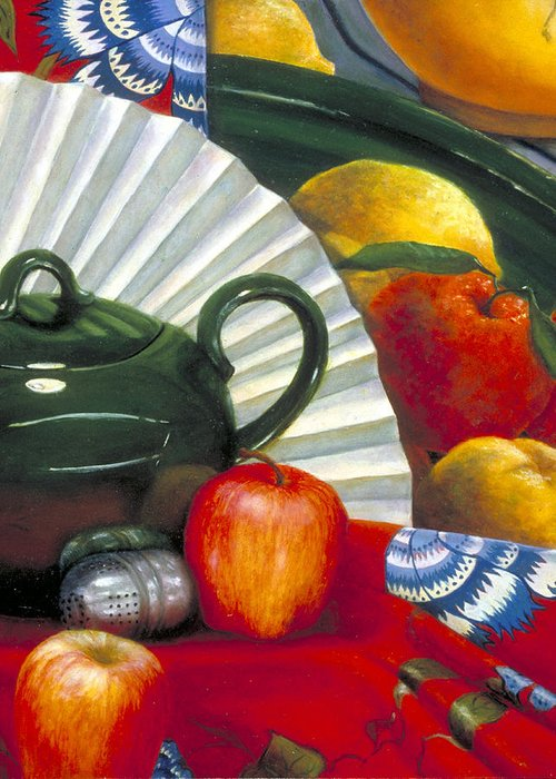 Oil Painting Greeting Card featuring the painting Still Life with Citrus Still Life by Nancy Ethiel