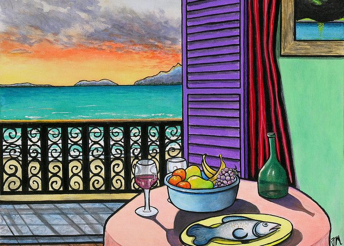 Still Life With Fish; Tropical Still Life Greeting Card featuring the painting Still Life With Fish by Joe Michelli