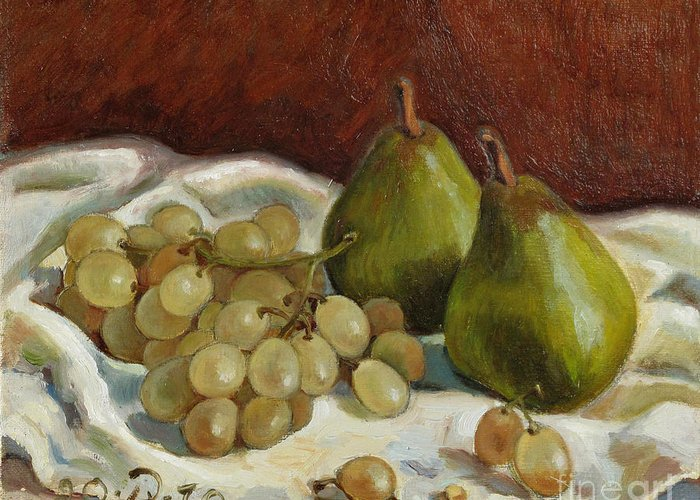 Still Life Greeting Card featuring the painting Still Life with French Grapes by Raimonda Jatkeviciute-Kasparaviciene