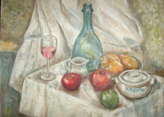 Still Life Greeting Card featuring the painting Still Life With Fruit And Wine by Joseph Sandora Jr