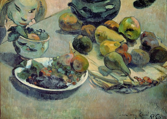 Still Life With Fruit Greeting Card featuring the painting Still Life With Fruit by Paul Gauguin