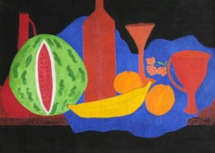 Still Life Greeting Card featuring the painting Still Life With Fruits And Glassware by Vijayan Kannampilly