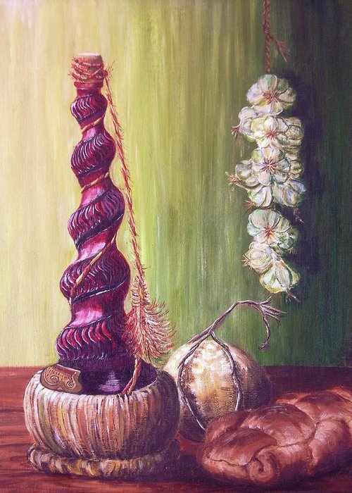 Acrylic Greeting Card featuring the painting Still Life With Garlic by Aspasia Arvanitis