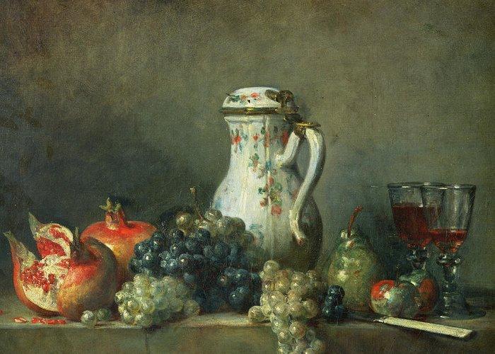 Still Life With Grapes And Pomegranates Greeting Card featuring the painting Still Life With Grapes And Pomegranates by Jean-Baptiste Simeon Chardin