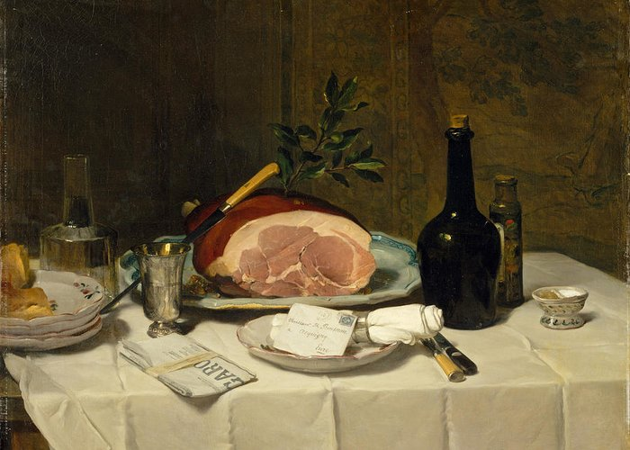 Philippe Rousseau Greeting Card featuring the painting Still Life With Ham by Philippe Rousseau
