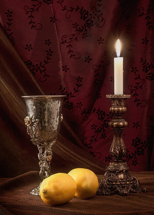 Candle Greeting Card featuring the photograph Still Life With Lemons by Tom Mc Nemar