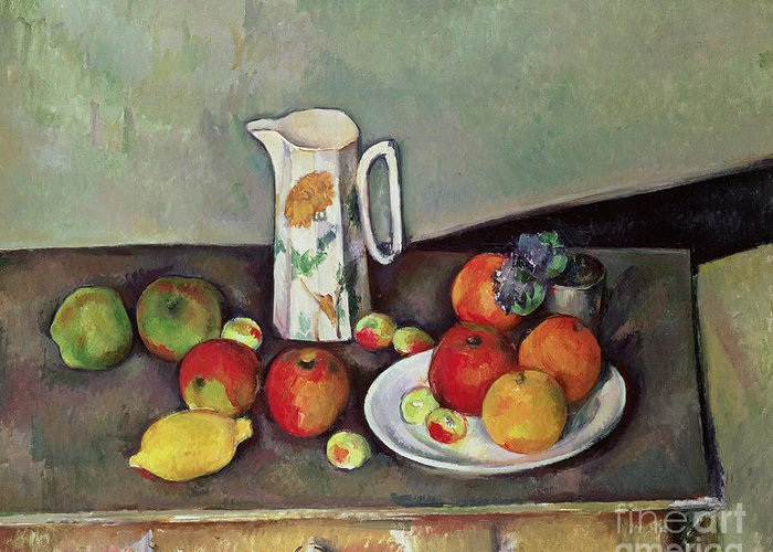 Paul Greeting Card featuring the painting Still Life With Milkjug And Fruit by Paul Cezanne