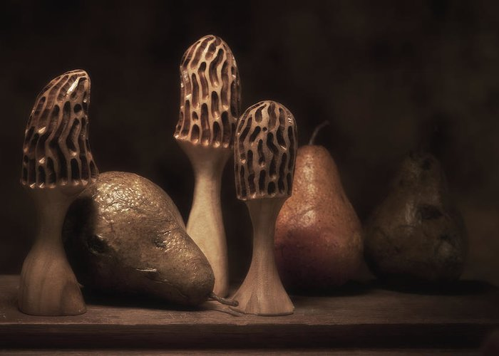 Mushroom Greeting Card featuring the photograph Still Life With Mushrooms And Pears II by Tom Mc Nemar