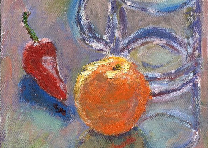 Oil Greeting Card featuring the painting Still Life With Orange by Horacio Prada