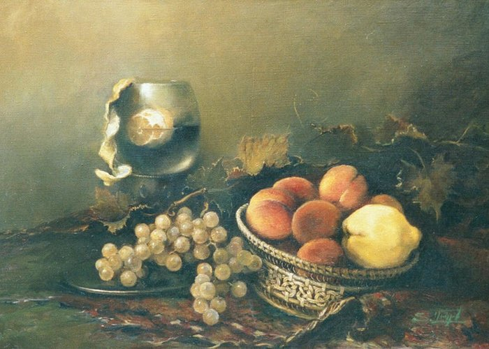 Armenian Greeting Card featuring the painting Still-life With Peaches by Tigran Ghulyan