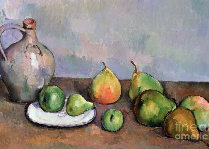Still Greeting Card featuring the painting Still Life With Pitcher And Fruit by Paul Cezanne