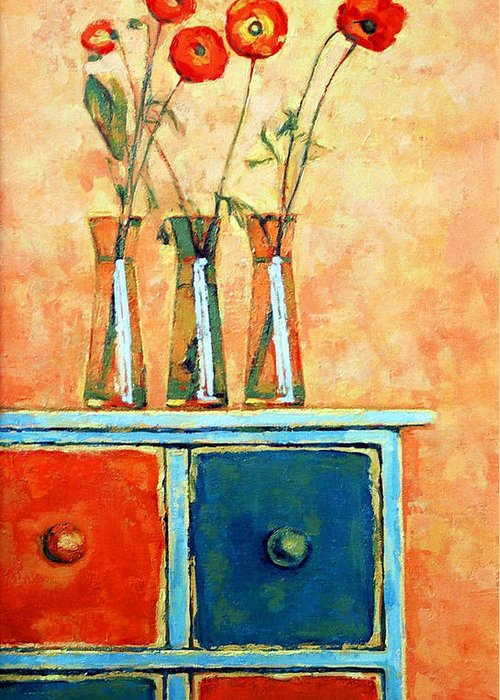 Poppies Greeting Card featuring the painting Still Life With Poppies by Iliyan Bozhanov