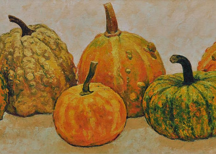 Still Life Greeting Card featuring the painting Still Life With Pumpkins by Iliyan Bozhanov