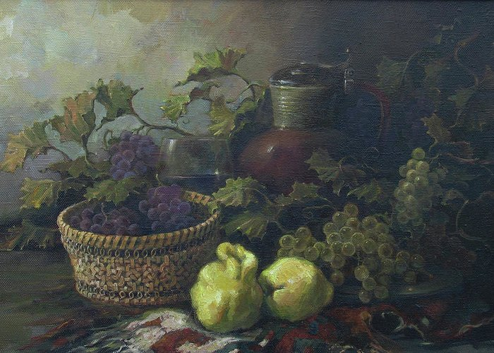 Armenian Greeting Card featuring the painting Still-life With Quinces by Tigran Ghulyan