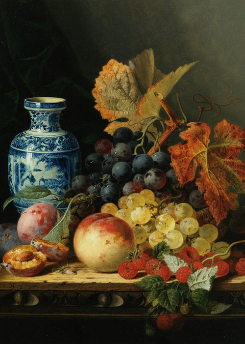 Still Life With Rasberries Greeting Card featuring the digital art Still Life With Rasberries by Edward Ladell