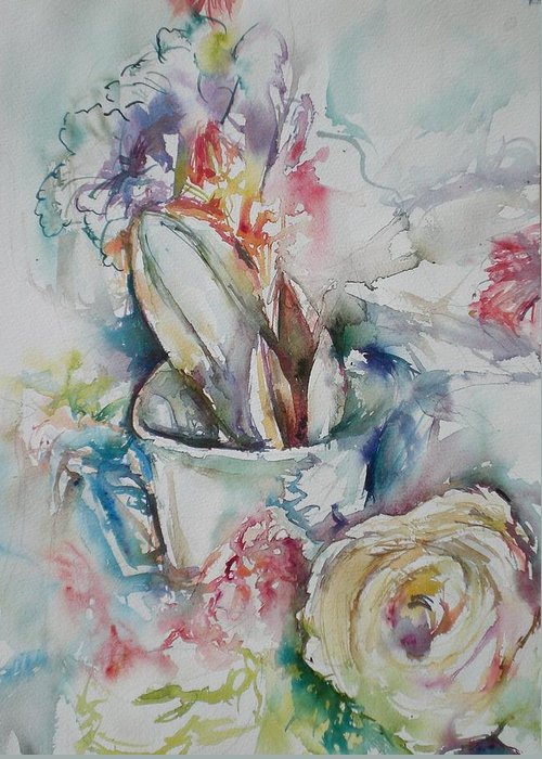 Still Life Greeting Card featuring the painting Still Life With Rose by Aleksandra Buha