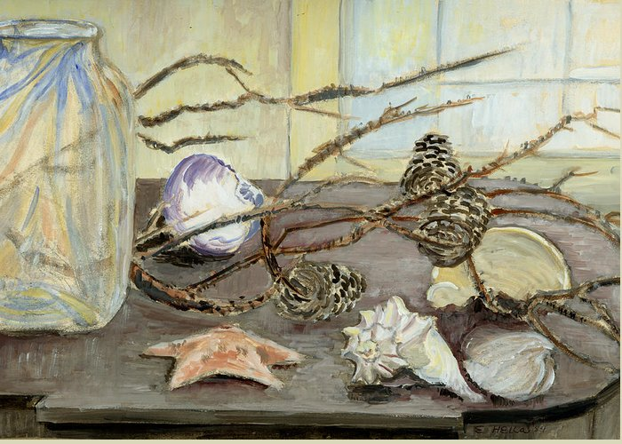 Still Life Greeting Card featuring the painting Still Life With Seashells And Pine Cones by Ethel Vrana