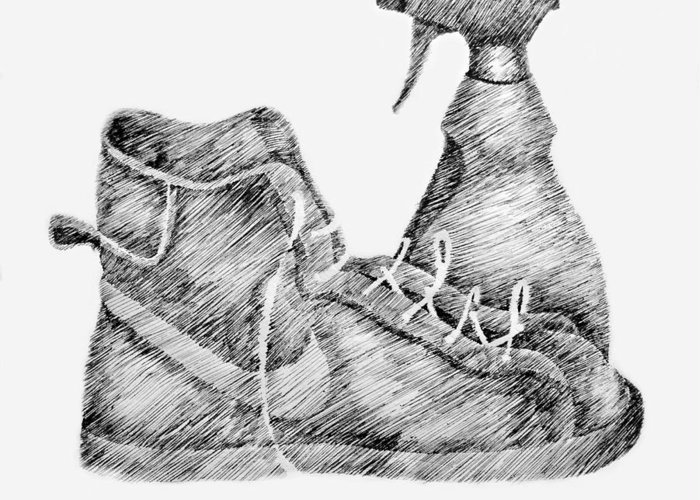 Pen Greeting Card featuring the drawing Still Life With Shoe And Spray Bottle by Michelle Calkins
