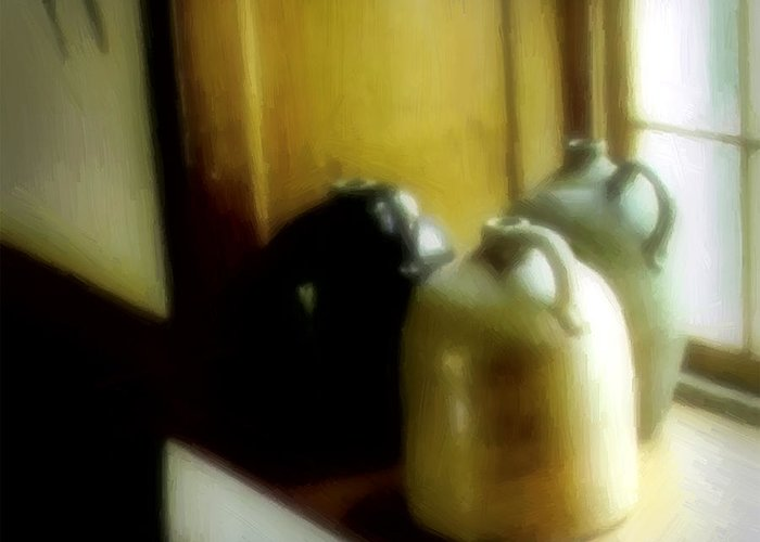 Antiques Greeting Card featuring the digital art Still Life With Stoneware by RC DeWinter