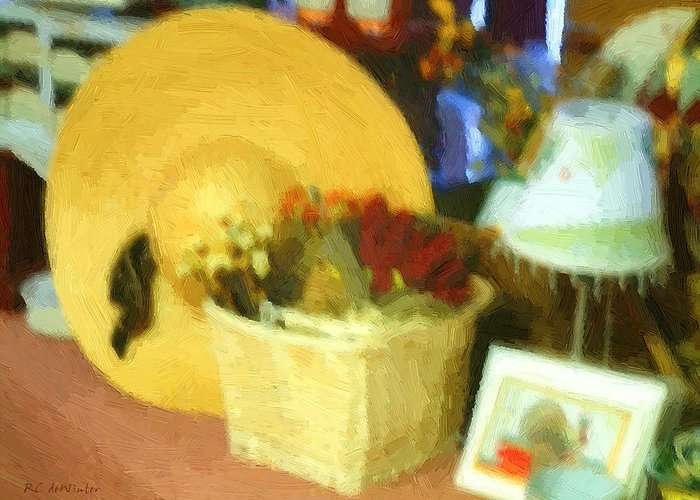 Basket Greeting Card featuring the digital art Still Life With Straw Hat by RC DeWinter