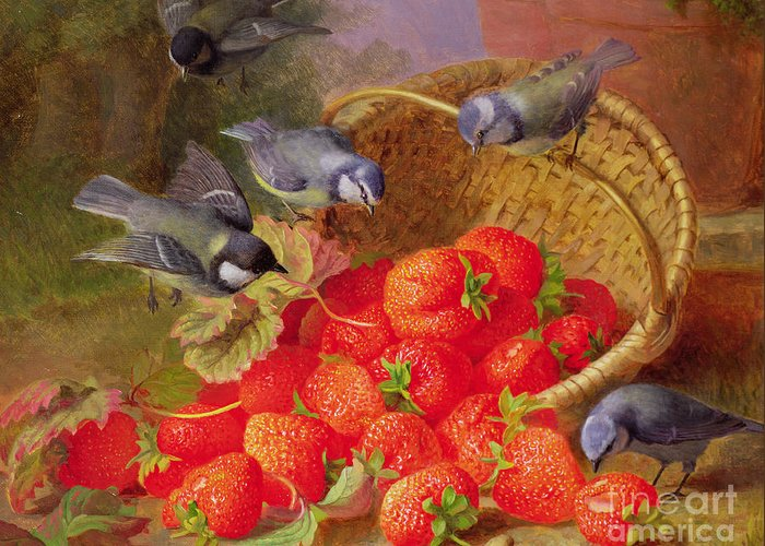 Still Greeting Card featuring the painting Still Life With Strawberries And Bluetits by Eloise Harriet Stannard