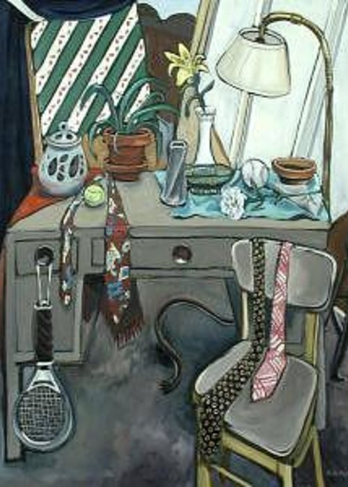 Large Greeting Card featuring the painting Still Life With Tennis Racket by Rollin Kocsis