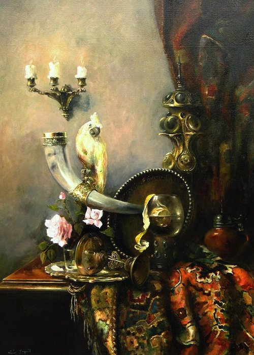 Armenian Greeting Card featuring the painting Still-life With The Dojra by Tigran Ghulyan