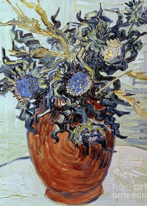Still Life With Thistles Greeting Card featuring the painting Still Life With Thistles by Vincent van Gogh