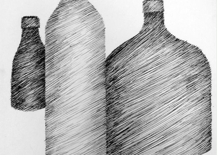 Still Life Greeting Card featuring the drawing Still Life With Three Bottles by Michelle Calkins