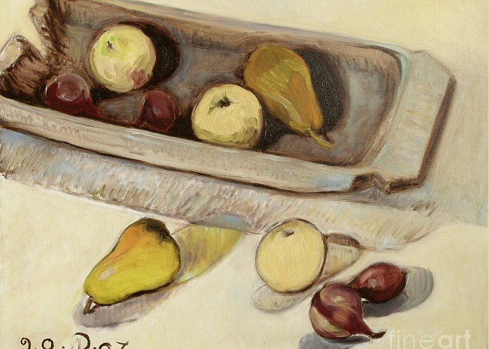 Still Life Greeting Card featuring the painting Still Life with Tub by Raimonda Jatkeviciute-Kasparaviciene