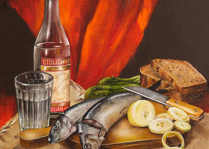 Still Life Greeting Card featuring the painting Still Life With Vodka And Herring by Roxana Paul