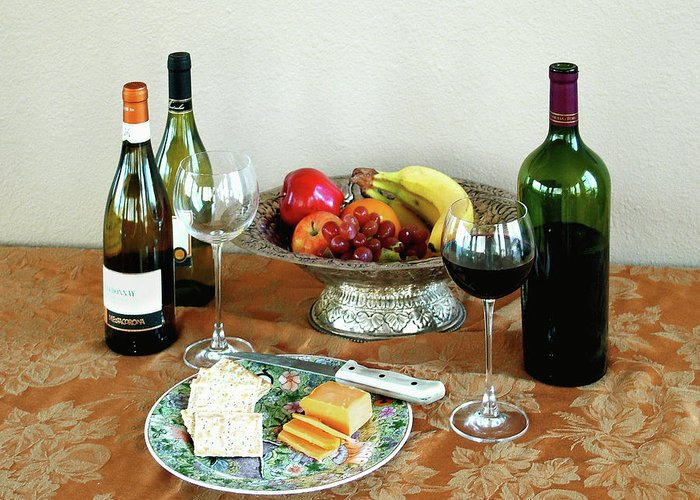 Still Life Greeting Card featuring the photograph Still Life With Wine And Fruit Cheese Picture Interior Design Decor by John Samsen