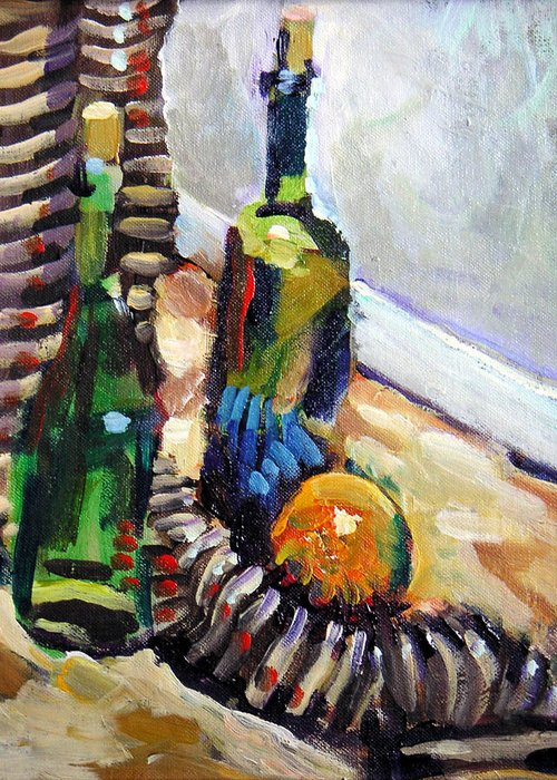 Still Life Greeting Card featuring the painting Still Life With Wine Bottles by Piotr Antonow