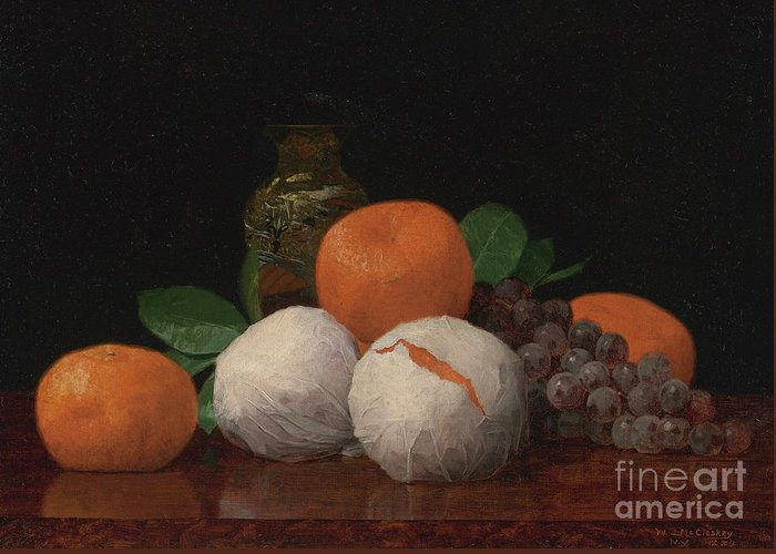 Still Life With Tangerines Paintings Greeting Cards