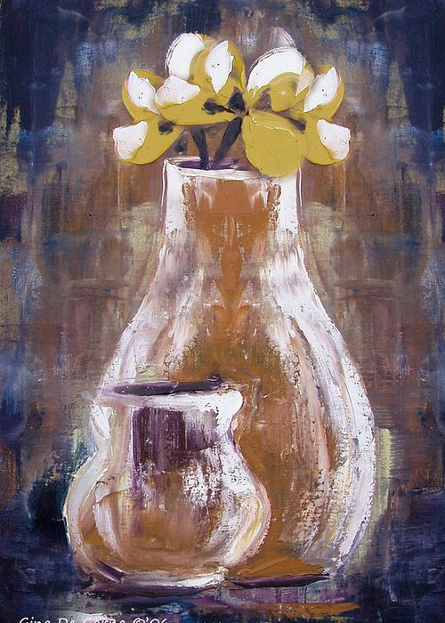 Still Life Greeting Card featuring the painting Still Life With Yellow Flowers by Gina De Gorna