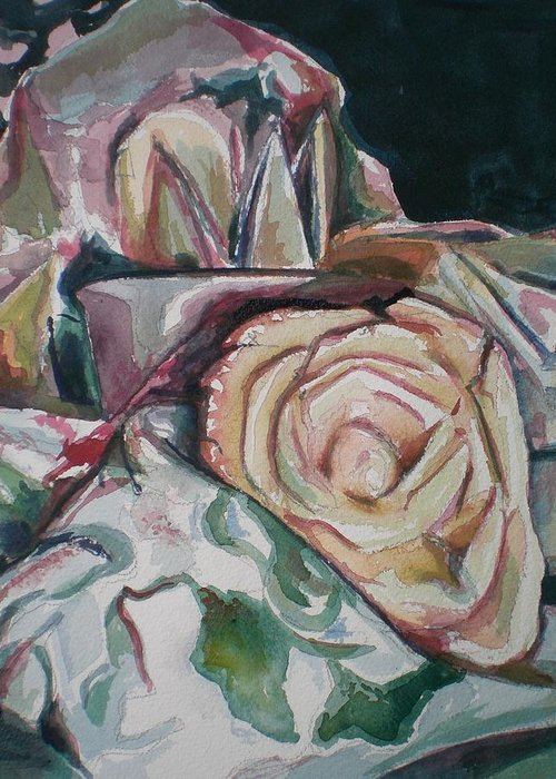 Still Life Greeting Card featuring the painting Still Life With Yellow Rose by Aleksandra Buha