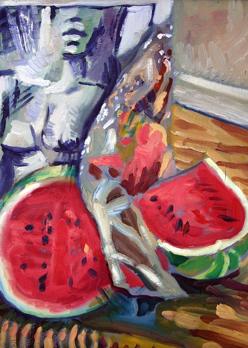 Still Life Greeting Card featuring the painting Still Life Wth Nude 2 by Piotr Antonow