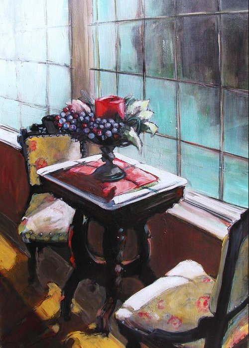 Sitting Room Greeting Card featuring the painting Still Moment by Michelle Winnie