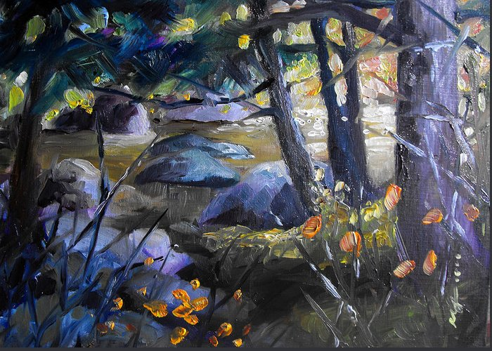 Oil Painting Greeting Card featuring the painting Still Running by Monica Linville