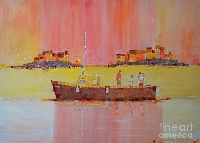 Boats Greeting Card featuring the painting Still Waters by Art Mantia