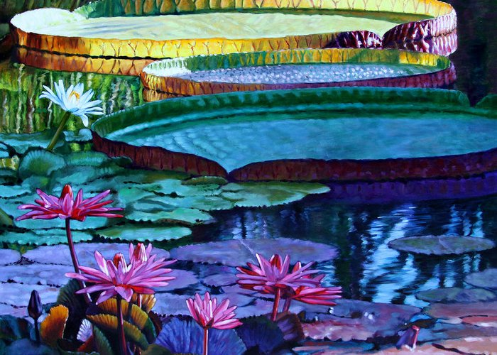 Garden Pond Greeting Card featuring the painting Stillness of Color and Light by John Lautermilch