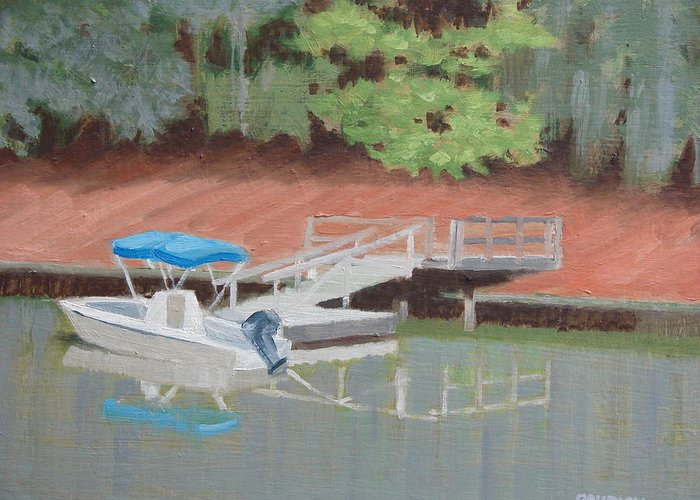 Power Boat Greeting Card featuring the painting Stillwater Landing by Robert Rohrich