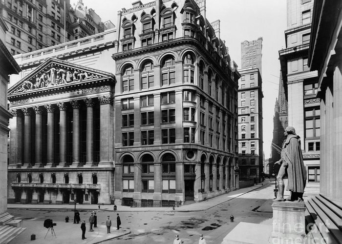 1908 Greeting Card featuring the photograph Stock Exchange, C1908 by Granger
