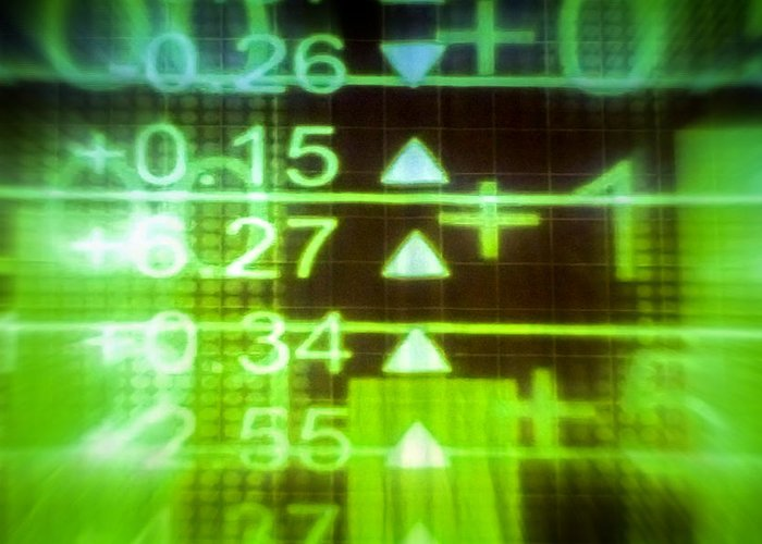 Stock Exchange Greeting Card featuring the photograph Stock Market Numbers by Jijo George