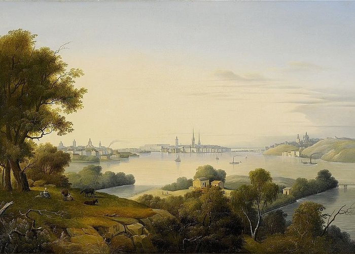Carl Abraham RothstÉn 1826-1877 Stockholm Inlet Of Lake Mälaren Page Greeting Card featuring the digital art Stockholm Inlet Of Lake by Mark Carlson