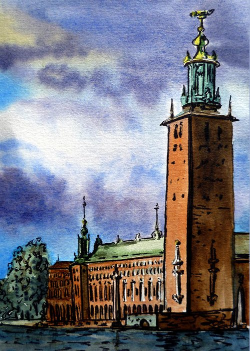 Stockholm Greeting Card featuring the painting Stockholm Sweden by Irina Sztukowski
