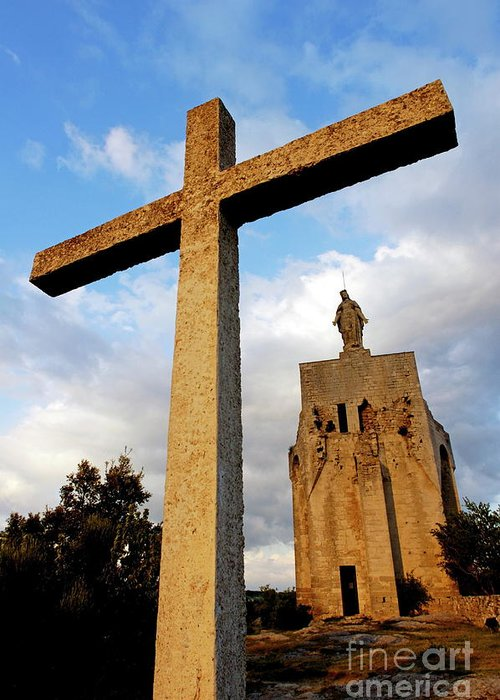Christ Greeting Card featuring the photograph Stone Crucifix by Sami Sarkis