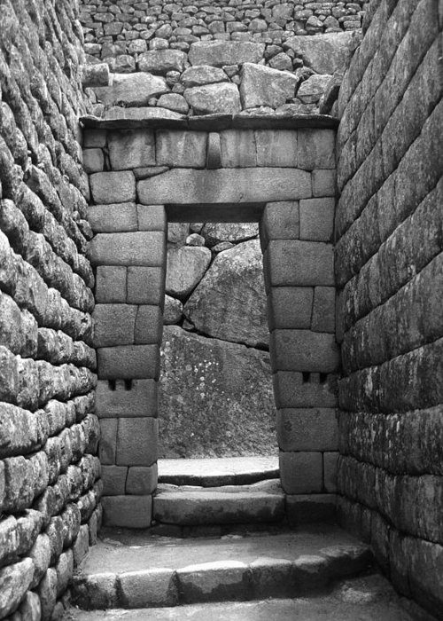 Machu Picchu Greeting Card featuring the photograph Stone Door by Marcus Best