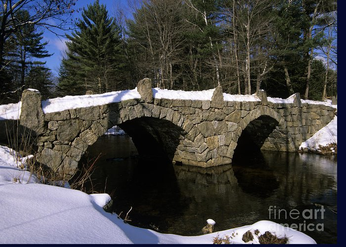 Bridge Greeting Card featuring the photograph Stone Double Arched Bridge - Hillsborough New Hampshire Usa by Erin Paul Donovan