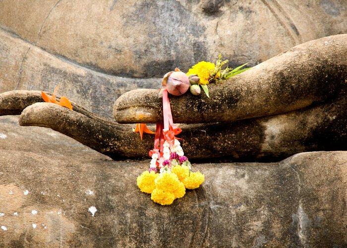 Buddha Greeting Card featuring the photograph Stone Hand Of Buddha by Adrian Evans